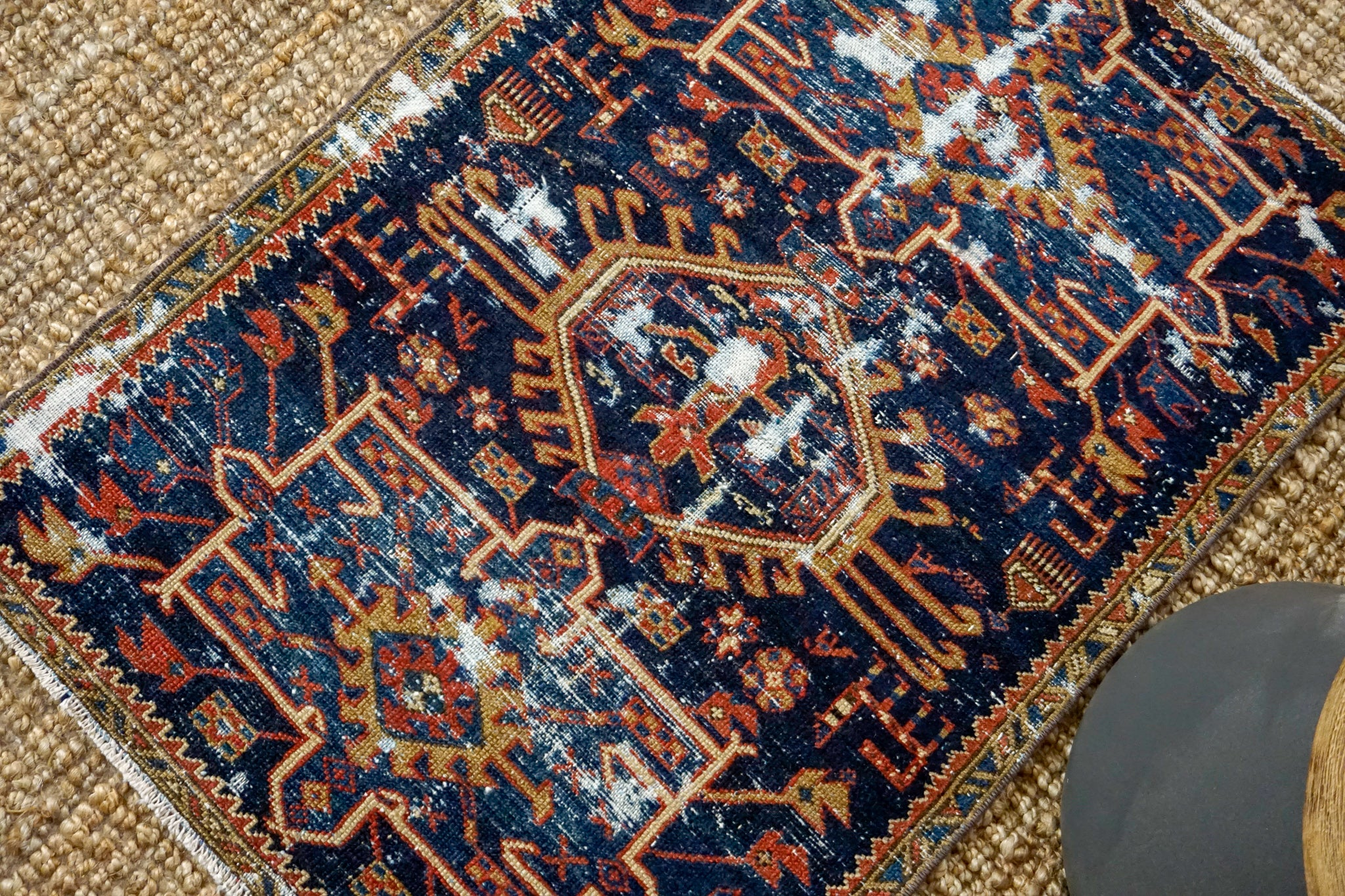 2'6 x 3'7 Classic Vintage Handmade Carpet Jewel Tones Navy, Red, Gold