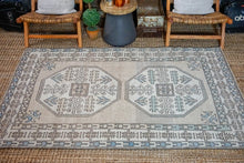 Load image into Gallery viewer, 4'7 x 7'2  Vintage Milas Handmade Carpet Oatmeal, Gray, Blue + Cream