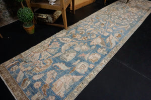 "2'8"" x 11'5"" Vintage Malayer Runner Blue, Beige & Brown"