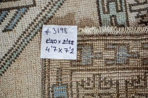 4'7 x 7'2  Vintage Milas Handmade Carpet Oatmeal, Gray, Blue + Cream