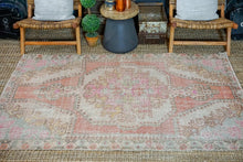 Load image into Gallery viewer, 4'6 x 7'1 Oushak Rug Muted Pinks, Turquoise and Beige Vintage Carpet