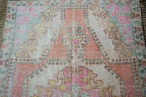4'6 x 7'1 Oushak Rug Muted Pinks, Turquoise and Beige Vintage Carpet