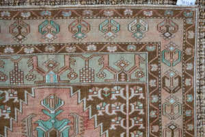 4'2 x 7'11 VintageTurkish Oushak Carpet Taupe, Green, Brown and Copper