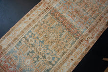 Load image into Gallery viewer, 3'3 x 13' Vintage Mahal Runner Apricot, Seafoam Blue and Cream