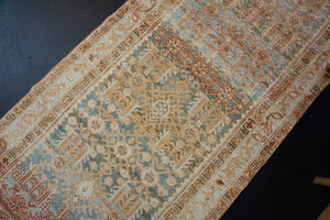3'3 x 13' Vintage Mahal Runner Apricot, Seafoam Blue and Cream