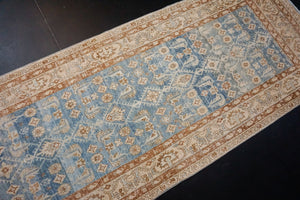 3'7 x 16'6 Vintage Malayer Runner Blue, Brown and Cream