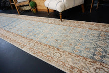 Load image into Gallery viewer, 3'7 x 16'6 Vintage Malayer Runner Blue, Brown and Cream