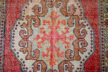 Load image into Gallery viewer, 4'3 x 7'8 Oushak Rug Very Muted Red, Pink, Violet Vintage Carpet