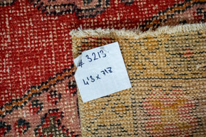 4'3 x 7'8 Oushak Rug Very Muted Red, Pink, Violet Vintage Carpet