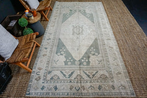5'6 x 10'7 Turkish Rug Muted Forest Green and Cream Vintage Carpet