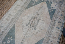 Load image into Gallery viewer, 5'6 x 10'7 Turkish Rug Muted Forest Green and Cream Vintage Carpet