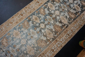 3'5 x 12'10 Persian Malayer Runner Blue, Brown and Beige