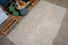 Load image into Gallery viewer, 4'4 x 7'4 Oushak Rug Muted Pink, Blue  and Beige Vintage Carpet
