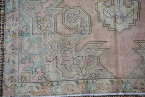 4'4 x 7'4 Oushak Rug Muted Pink, Blue  and Beige Vintage Carpet