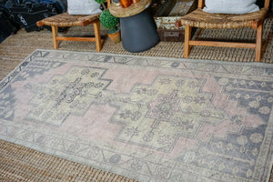 4'1 x 9' Vintage Oushak Carpet Muted Pink, Gray and Yellow Gallery Rug