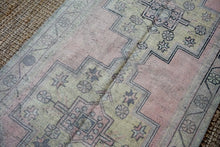 Load image into Gallery viewer, 4'1 x 9' Vintage Oushak Carpet Muted Pink, Gray and Yellow Gallery Rug