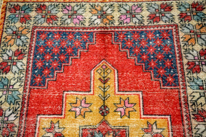 4'6 x 8'11 Vintage Oushak Carpet Muted Red, Blue + Honey-Gold Gallery Rug