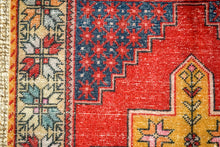 Load image into Gallery viewer, 4'6 x 8'11 Vintage Oushak Carpet Muted Red, Blue + Honey-Gold Gallery Rug
