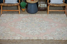 Load image into Gallery viewer, 4' x 7' Oushak Rug Muted Baby Pink, Blue + Cream Vintage Carpet