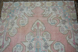 4' x 7' Oushak Rug Muted Baby Pink, Blue + Cream Vintage Carpet