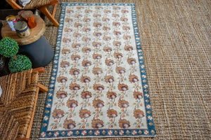 3'5 x 6'5 Oushak Rug Muted Cream, Bronze and Turquoise Vintage Carpet