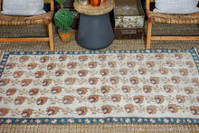 Load image into Gallery viewer, 3'5 x 6'5 Oushak Rug Muted Cream, Bronze and Turquoise Vintage Carpet