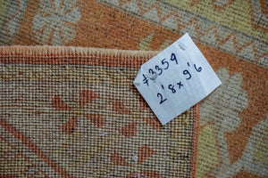 2'8 x 9'6 Vintage Turkish Milas Runner Muted Copper and Gold 70's