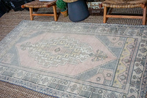Sold 10/27*4'8 x 8'8 Vintage Oushak Carpet Muted Pink, Gray and Yellow Gallery Rug