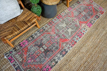 Load image into Gallery viewer, 2'5 x 8'6 Vintage Turkish Oushak Runner Muted Black, Red, Pink + Gray 70's