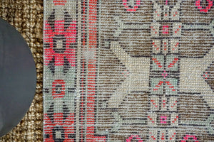 2'5 x 8'6 Vintage Turkish Oushak Runner Muted Black, Red, Pink + Gray 70's