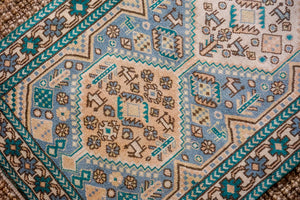 2'8 x 9'5 Vintage Turkish Milas Runner Turquoise, Teal and Sky Blue 70's