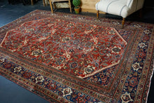 Load image into Gallery viewer, 7'4 x 11' Vintage Mahal Carpet Red, Blue & Cream