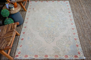 4'3 x 7'2 Oushak Rug Baby Pink, Blue and Yellow Vintage Carpet