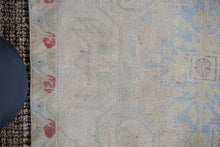 Load image into Gallery viewer, 4'3 x 7'2 Oushak Rug Baby Pink, Blue and Yellow Vintage Carpet