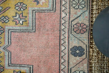 Load image into Gallery viewer, 4'3 x 9' Turkish Oushak Carpet Muted Pink, Gray and Saffron Vintage Gallery Rug 1970's
