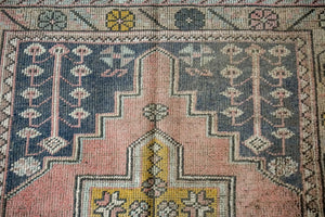 4'3 x 9' Turkish Oushak Carpet Muted Pink, Gray and Saffron Vintage Gallery Rug 1970's