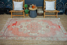 Load image into Gallery viewer, 4'4 x 7'9 Turkish Oushak Carpet Muted  Reds, Beige and Green Vintage Rug 1970's