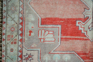 4'4 x 7'9 Turkish Oushak Carpet Muted  Reds, Beige and Green Vintage Rug 1970's