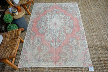Load image into Gallery viewer, 4'4 x 7'1 Oushak Rug Pink, Blue, Beige & Gray Vintage Carpet