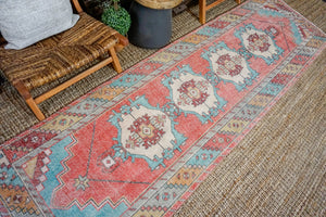 3'1 x 10'5 Turkish Oushak Runner Pink, Blue, & Cream Vintage 1970's