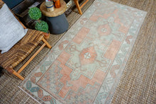 Load image into Gallery viewer, 3'8 x 8' Turkish Oushak Runner Muted Copper, Green + Gray Vintage 1970's