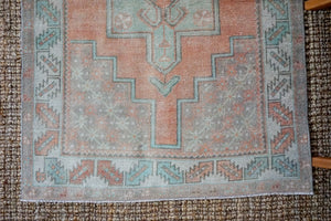 3'8 x 8' Turkish Oushak Runner Muted Copper, Green + Gray Vintage 1970's