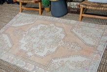 Load image into Gallery viewer, 4'5 x 7'2 Oushak Rug Muted Copper, Light Blue + Cream Vintage Carpet