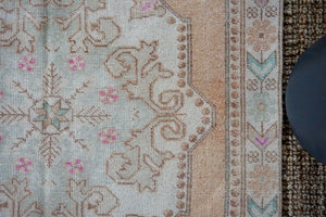 4'5 x 7'2 Oushak Rug Muted Copper, Light Blue + Cream Vintage Carpet