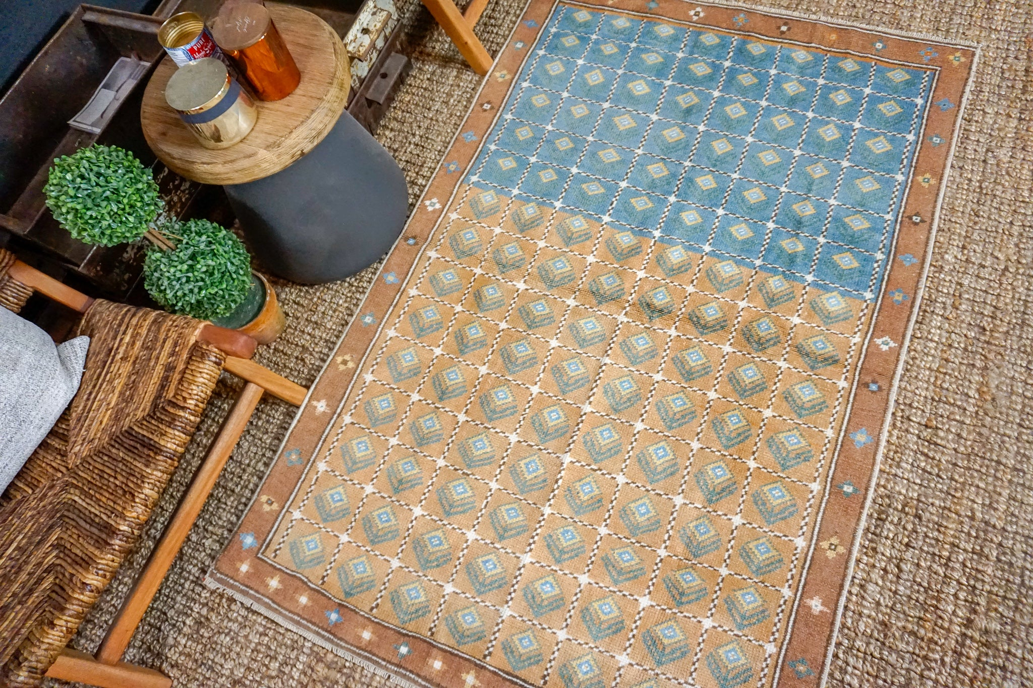 3'8 x 5'9 Mid Century Turkish Anatolian Rug Blue and Brown Vintage 60's