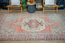 Load image into Gallery viewer, 4'10 x 8'10 Turkish Oushak Rug Muted Jewel Tones Vintage 70's