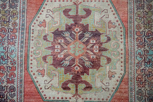 4'10 x 8'10 Turkish Oushak Rug Muted Jewel Tones Vintage 70's