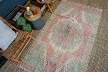 Load image into Gallery viewer, 4'4 x 7'4 Oushak Rug Muted Coral Pink, Aqua Blue + Pink Vintage Carpet*