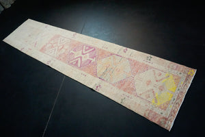 2'10 x 12'2 Herki Runner Muted Pinks, Yellow, Cream and Gray