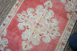 4'7 x 7'1 Vintage Turkish Oushak Rug Muted Red, Creamy Beige and Honey Carpet